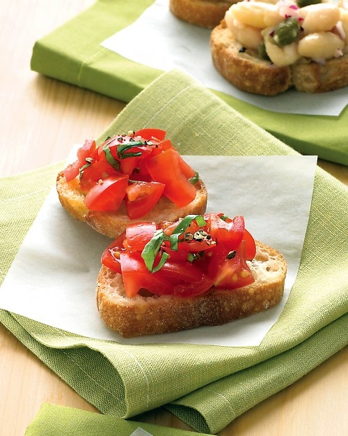 easy tomato-basil crostini from martha. 1 pint chopped grape or cherry ...