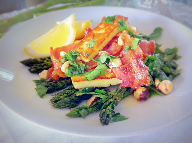asparagus bacon amp halloumi salad with mint amp hazelnut vinaigrette