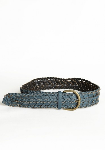 blue faux leather belt