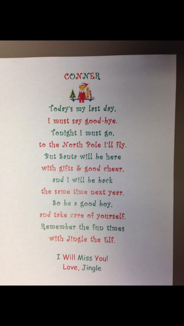 Elf On The Shelf Good Bye Letter | New Calendar Template Site