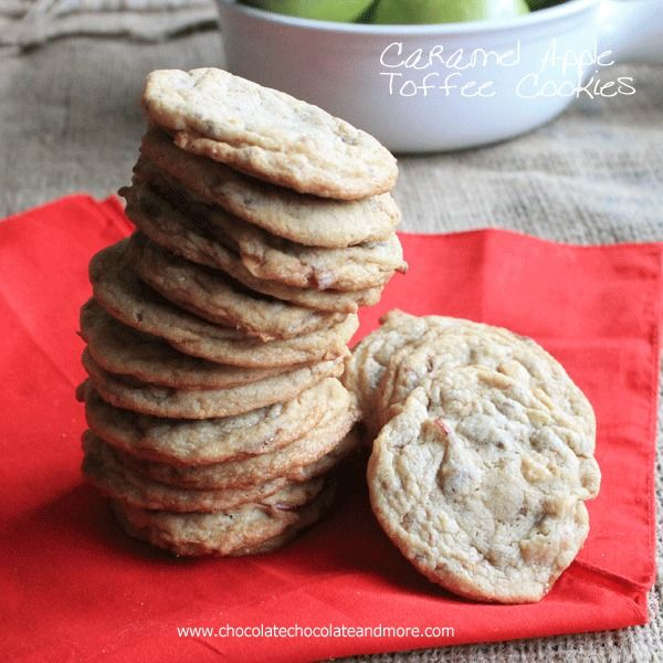 Caramel Apple Toffee Cookies - Chocolate Chocolate and More!