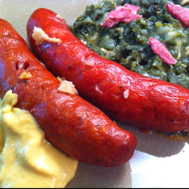 Curly kale with smoked sausage & spicy mustard dip.