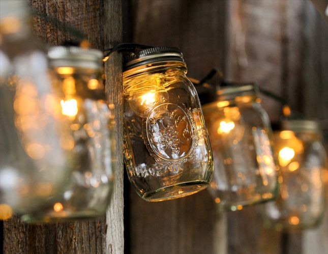 String up these mason jar lights in your backyard.