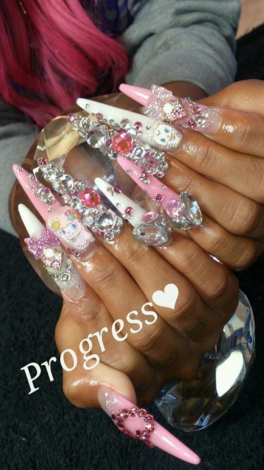 Super long Gyaru nails- love the style would do shorter tho