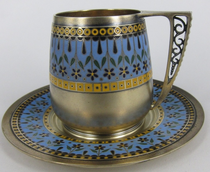 RUSSIAN SILVER AND ENAMEL CUP & SAUCER 1873-1918