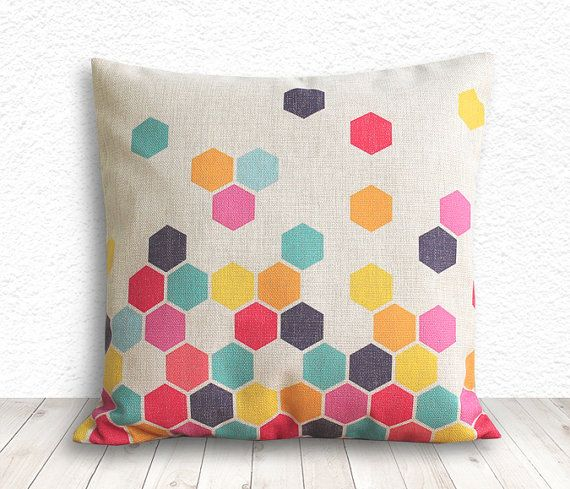 colorful hex pillow / etsy… This is the exact color palette I've been thinking!