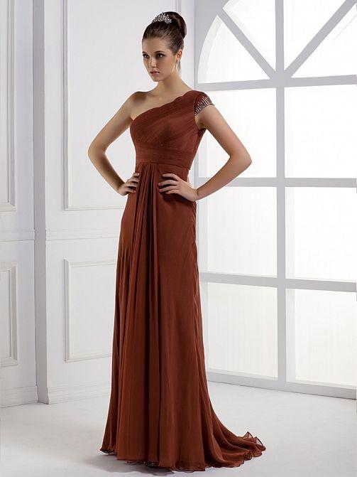 One Shoulder A Line Fashionable Lady Dress