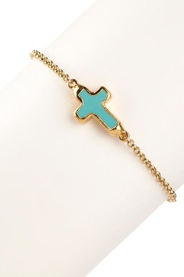 turquoise and gold cross
