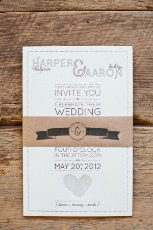 Aaron + Harper's Fingerprint Heart Wedding Invitations  via ohsobeautifulpaper.com