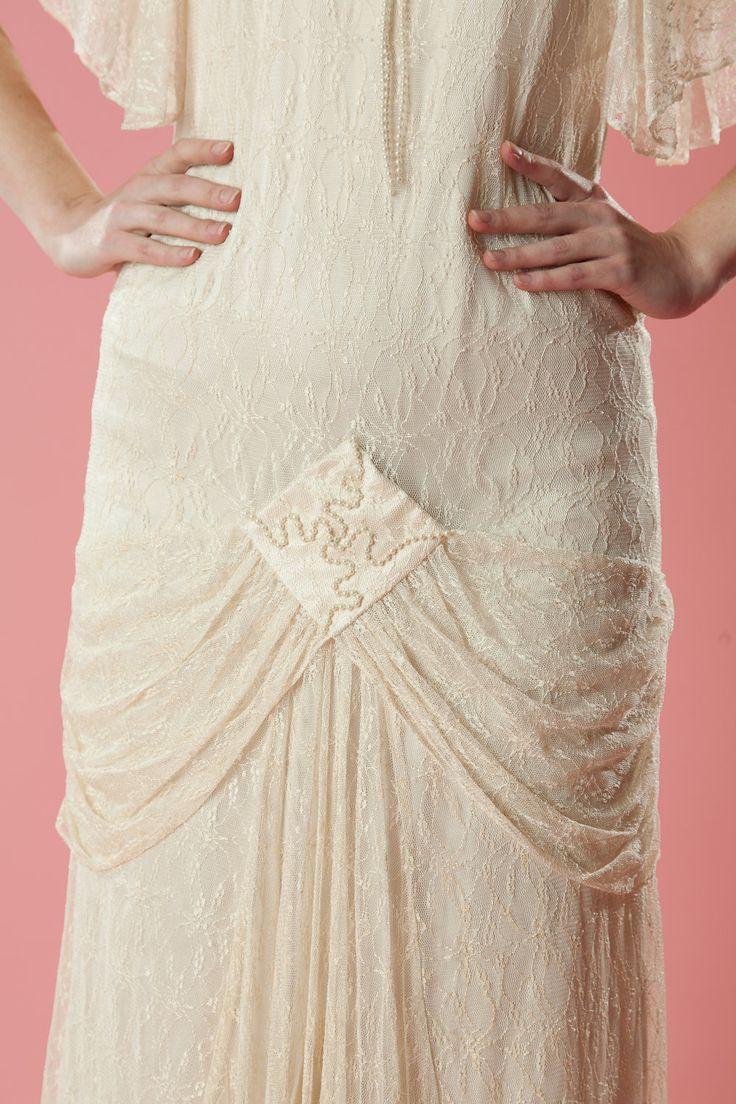 Vintage art deco wedding dress 1980s does 1920s lace drop for Lace drop waist wedding dress