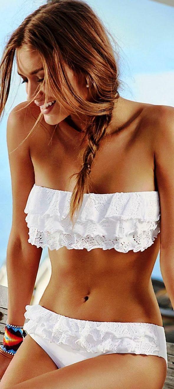 Summer Trends 2014. Swimsuits and Bikinis. Lovely white swimwear ruffle bandeau bikini top