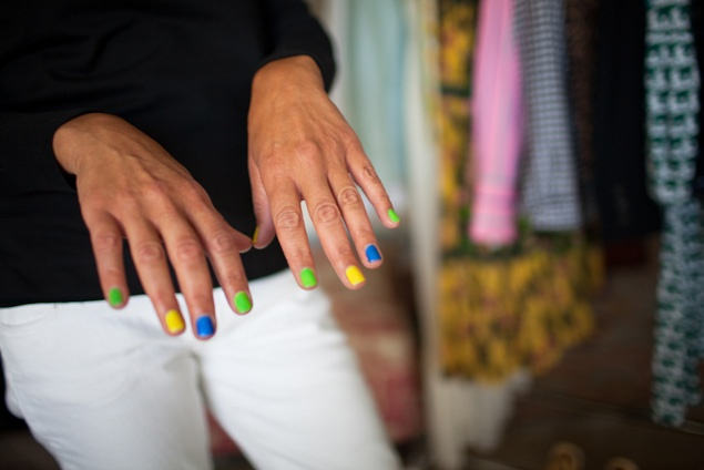 Lisa Crawford's colorful manicure.