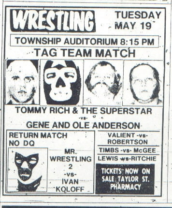 Mr. Wrestling 2 and The Masked Superstar featured on this card from Columbia SC's Township Auditorium