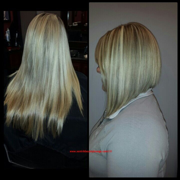 Long Angled Bob. Blonde Hair. Mid Length Hair Styles.
