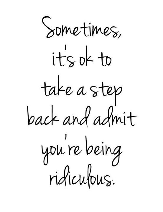 Sometimes it's okay to take a step back and admit you're being ridiculous. // wise words!