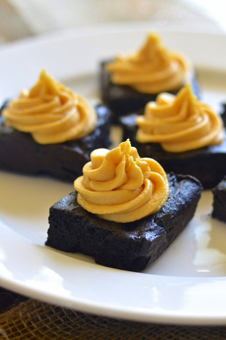 Gluten Free Dark Chocolate Brownies with Creamy Pumpkin Frosting ...