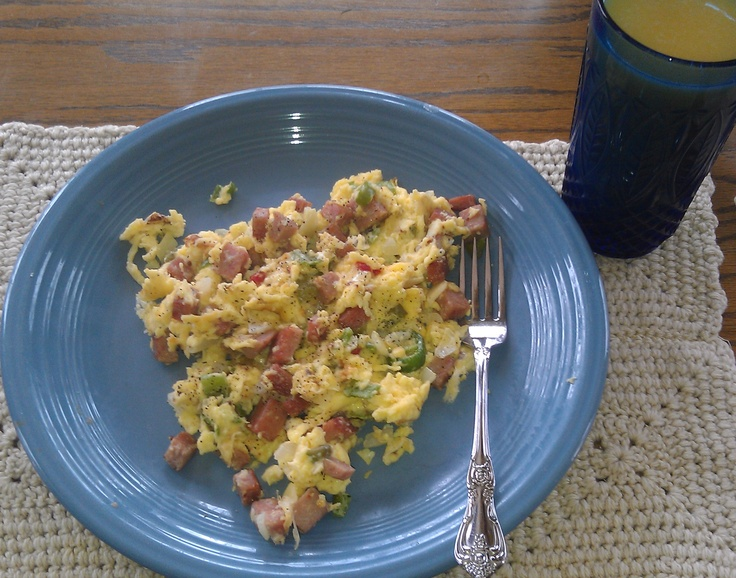 pan. In same pan scramble 3 eggs (adding a little water makes eggs ...