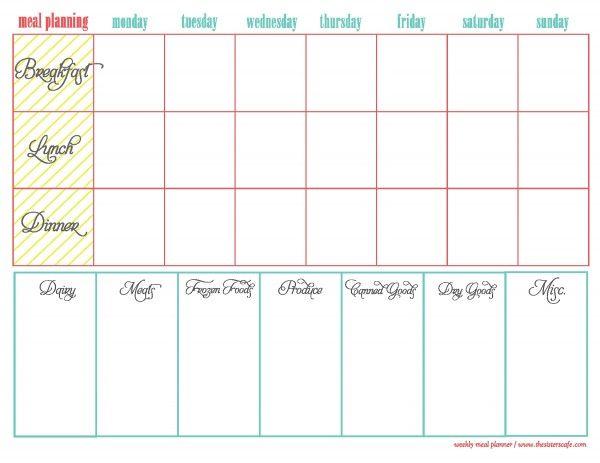 Weekly Menu Plan- breakfast, lunch, and dinner