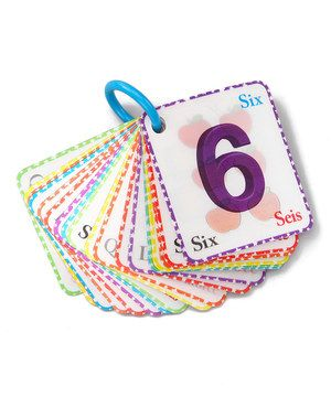 Connected with an easy-open ring for on-the-go learning, these cool flash cards can be tilted to change the image from the number to a matching object. Then kids can flip them over, grab a dry-erase marker and practice writing each numeral on the back! Number names appear in English, Spanish and French for added education.