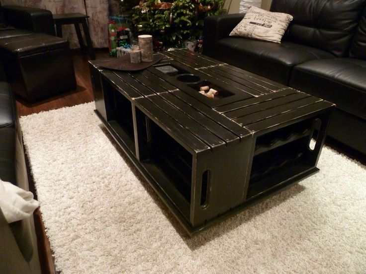 Wine Crate Coffee Table Painted Black To Match Decor Imgur Wine Themed Interior Decorations