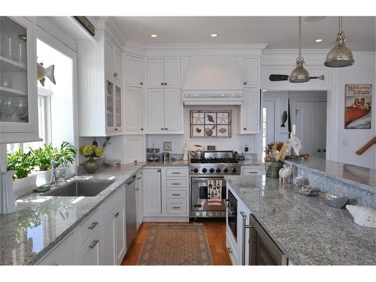 White and grey coastal kitchen home kitchen ideas for Kitchen ideas grey and white