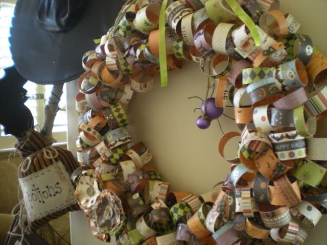 Halloween Wreath with scrapbook paper