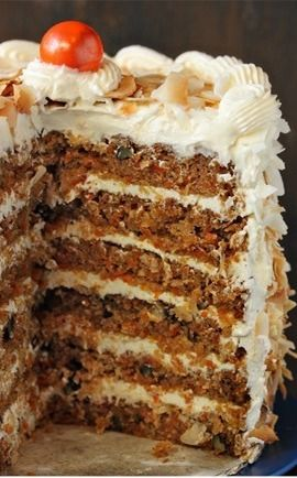 Carrot Cake with Coconut-Cream Cheese Swiss Meringue Buttercream