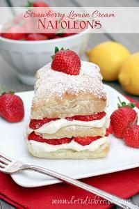 Strawberry Lemon Cream Napoleons are filled with lemon mousse and ...