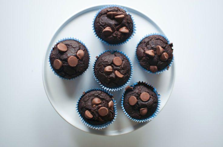 triple chocolate chunk muffins - 95 cal each