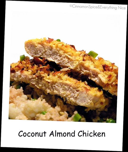 Coconut Almond Crusted Chicken with Couscous