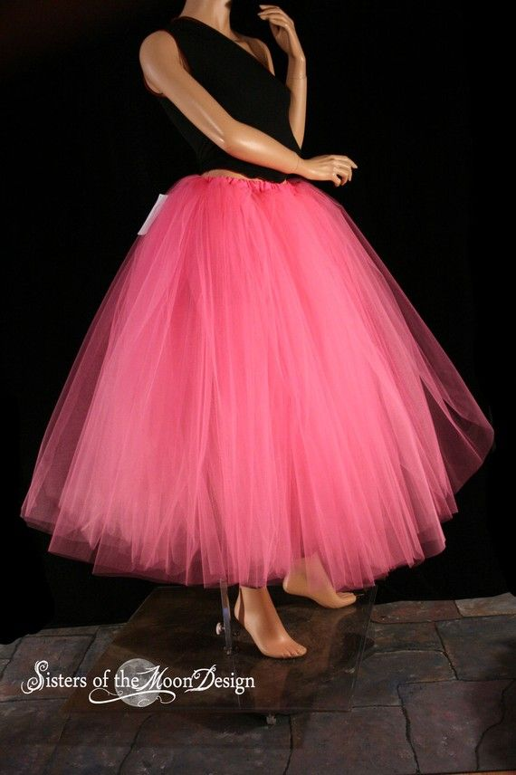 Floor length adult tutu skirt pink extra puffy petticoat for Petticoat under wedding dress