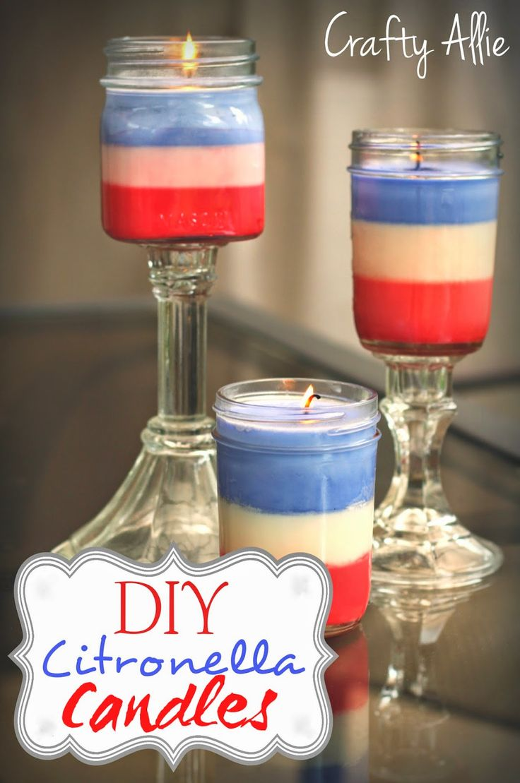 DIY Citronella Candles To make them red, white, and blue I added crayons to the candle wax!