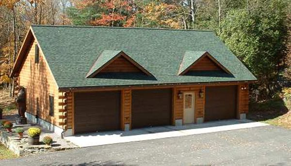 Log garage gallery 1 log cabin pinterest for Log cabin garage