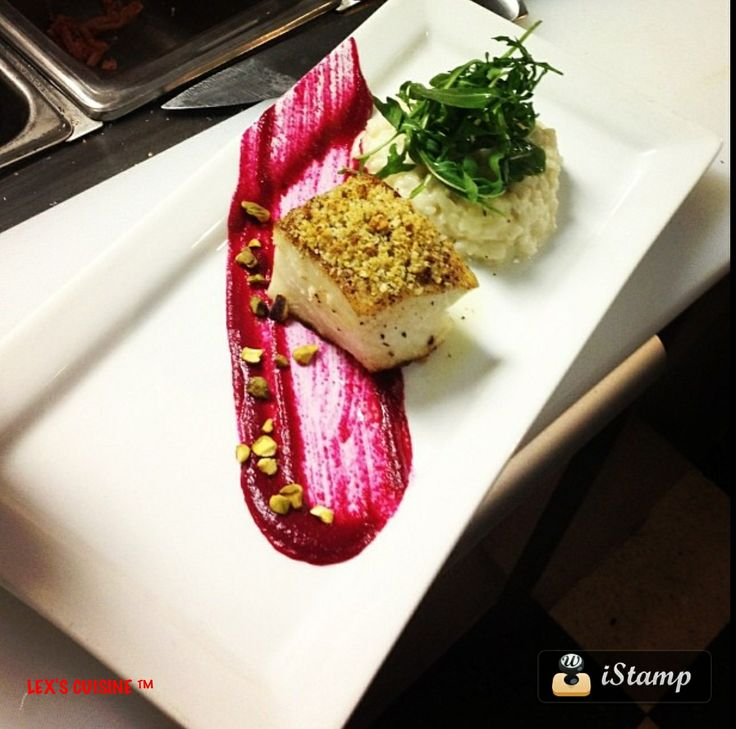 Pistachio crusted Sea Bass with goat cheese risotto beet purée