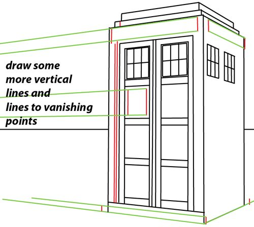 How to Draw TARDIS from Doctor Who with Easy Two Point Perspective    How To Draw The Tardis Easy