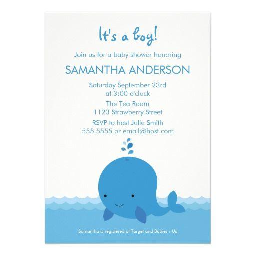 modern whale baby shower invitation boy