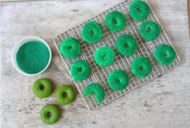 green velvet donuts. its your normal red velvet cake dyed green for St ...