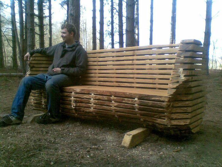 Chainsaw carved oak bench outdoor