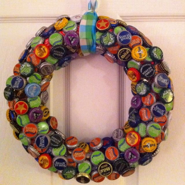 a bottle cap wreath craft caps and corks pinterest