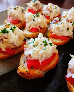 Crab Crostini | Recipes - Toasties, Canapes, | Pinterest