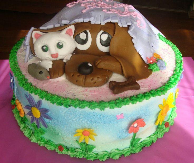 ... birthday cake  Puppy Dog & Cat Birthday Cake - Adorable.  food yummo