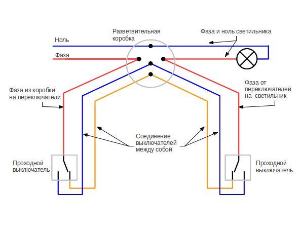 Схема выключателя коридорного типа