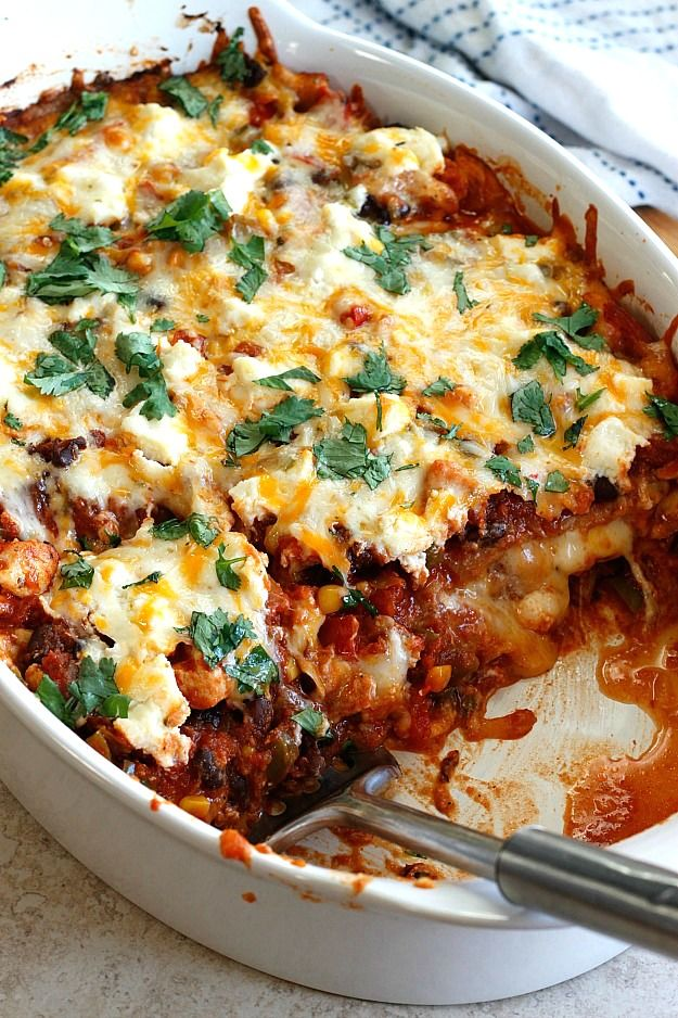 Mexican Lasagna...Loaded with veggies and chicken, and using whole ...