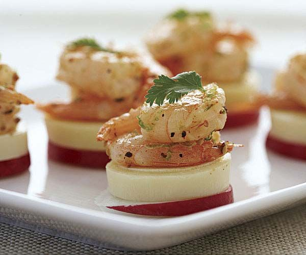 Hearts of Palm and Radish Coins with Shrimp Appetizer Recipe