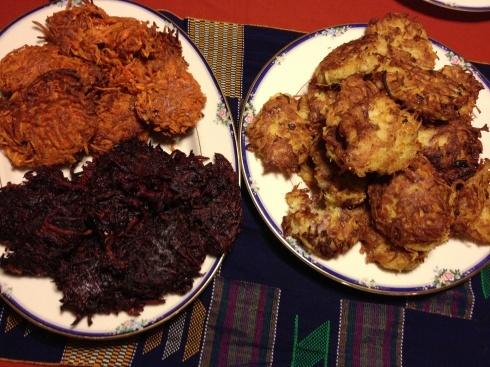 Latke, Sweet Potato and Carrot Ginger Latkes & Beet and Cumin Latkes ...