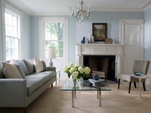 Gray Sofa Blue Walls White Trim Living Room Pinterest
