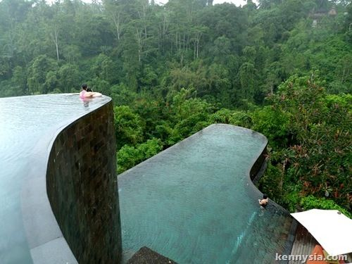Ubud Hanging Gardens Hotel in Bali which is built vertically down a mountain!!! From the horizon pools you can hear the sound of rushing water from the deep ravine.