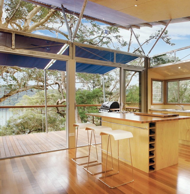 The kitchen has a view to the Hawkesbury River.  Photo by: Patrick Bingham Hall      Read more: http://www.dwell.com/slideshows/outback-staked-house.html?slide=3=y=true##ixzz1xmutuFmk