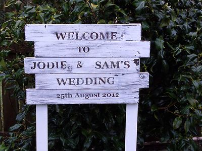 Wedding Welcome Sign Personalised Chic N Shabby Vintage Style Wooden