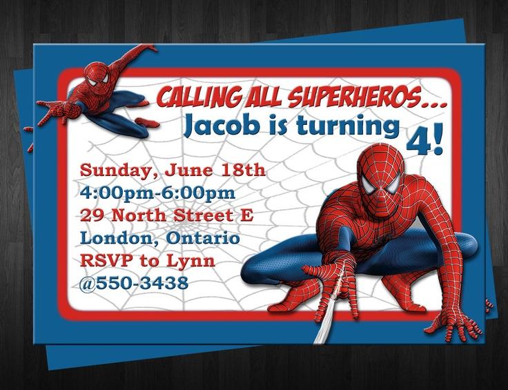 Spider man birthday invitation template filmwisefo